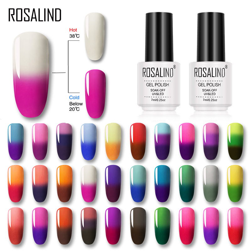 ROSALIND 7ML Gel Nail Polish Temperature Color Changing UV Nail Art Gel Lacquer Semi Permanent Gel Varnish For Nails Manicure