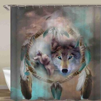 Wolf Shower Curtain Howl Moon Dreamcatcher Bathroom Curtain Waterproof Fabric With Hook 72x72 Inch