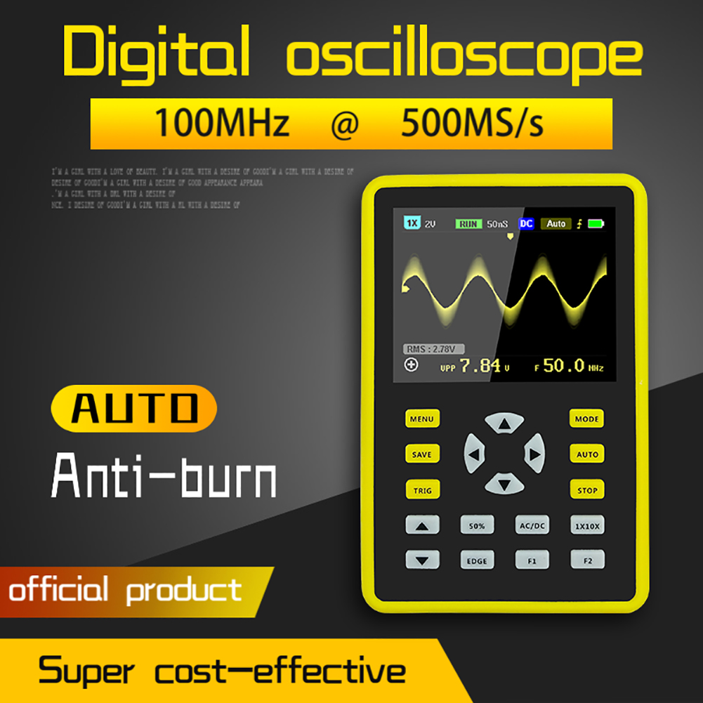 High Percision 5012H Portable Digital Mini <font><b>Oscilloscope</b></font> <font><b>100MHz</b></font> Bandwidth 500MS/s Sampling Rate with 2.4inch IPS Display Screen image