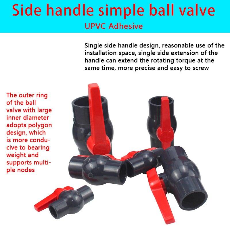 PVC Ball Valve UPVC Side Handle Simple Ball Valve Garden Irrigation Hose Connection Ball Valve Drainage Joint Switch 1Pcs