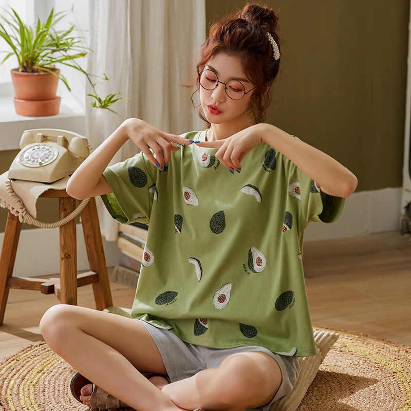 Bzel verde pijamas para as mulheres adorável padrão de abacate pijamas 100% algodão curto casa wear venda quente femme roupa interior pijamas