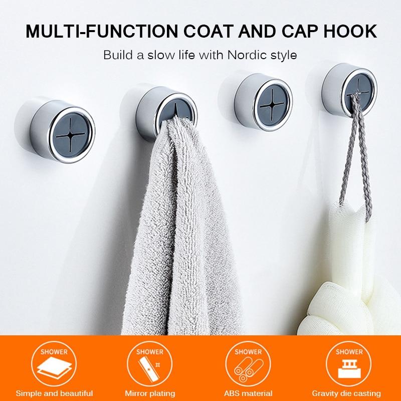 3pcs Self Adhesive Towel Holder Wall Mount Wash Cloth Hook Holder Bathroom Storage Rack Towel Hanger Holder Bathroom  Rack