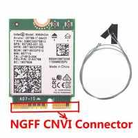 Avec 2 pièces antennes pour Intel AC 9560 9560NGW 1.73Gbps carte sans fil NGFF M2: CNVi carte Wifi 802.11ac Bluetooth 5.0 pour Windows 10