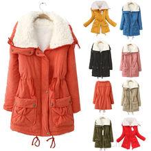New Women Winter Thick Fleece Coat Drawstring Lapel Hoodie Slim Jacket Trench