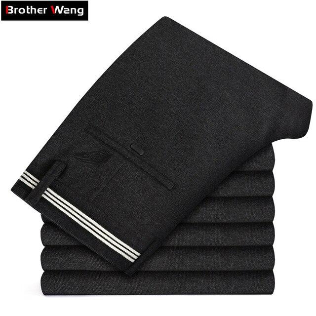 2019ฤดูใบไม้ร่วงและฤดูหนาวใหม่ผู้ชายหนากางเกงธุรกิจแฟชั่นขั้นสูงยืดถักกางเกงชายแบรนด์เสื้อผ้า