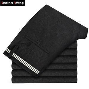 Image 1 - Pantalon en tricot épais pour hommes, vêtement de marque épais, avancé, extensible et à la mode, nouvelle collection automne et hiver 2019