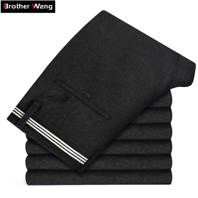 Pantalon en tricot épais pour hommes, vêtement de marque épais, avancé, extensible et à la mode, nouvelle collection automne et hiver 2019