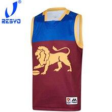 RESYO FOR Brisbane Lions Мужская Домашняя футболка для регби Гернси, Спортивная футболка S-5XL