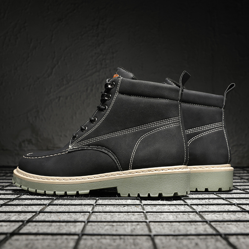 2019 Winter Men's Boots Non-slip Wearable Outdoor Big Tooling Large Size Shoes Retro Trend Men's Boots Comfortable Shoe K12-37