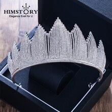 Himstory New Magnificent Crystal Rhinestone Queen Tiara Crown Big Diadem for Women Crown Wedding Dress Hair jewelry Accessories цена и фото