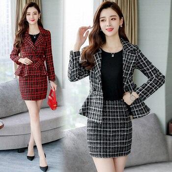 Herbst kleid neue frauen kleid Koreanische version mode woolen kleid zwei-stück set von kleinen Hong Kong stil material anzug kleid