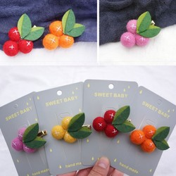 2020 lana pequeña naranja fieltro bola chica Clips para el pelo hojas de fruta horquillas hechas a mano Barrettes Niños Accesorios para la cabeza para fotos