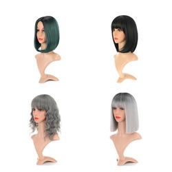 Peruca curta bob com franja feminino onda reta sintético resistente ao calor loira colorido ombre traje perucas cosplay peruca 14 Polegada