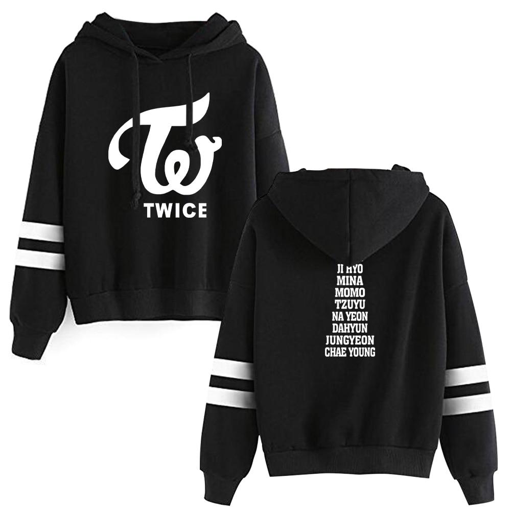 2019 KPOP TWICE Hooded Sweatshirts TWICE Kpop Hot Sale Hoodie Fans ONCE Women Long Sleeve Pullover Hoodies Casual Clothes