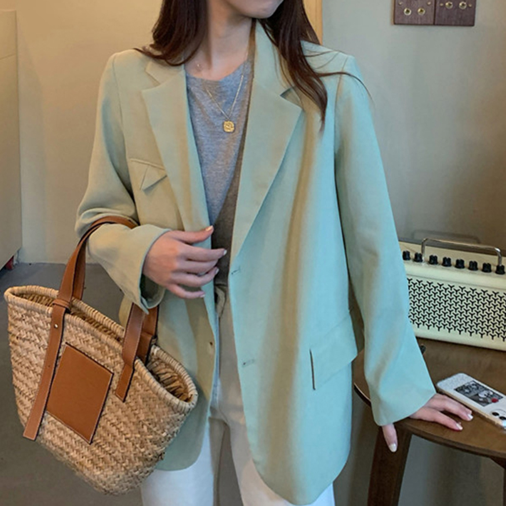 Casual Green Single-breasted Women Blazer Office Ladies Suit Top  Jacket Spring Elegant Female Outwear Femininas 2020 New