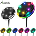 Solar Ground Lights Outdoor Garden Yard Patio Disk Light Multi-Color Auto-Changing 10LED Waterproof In-Ground Landscape Lighting