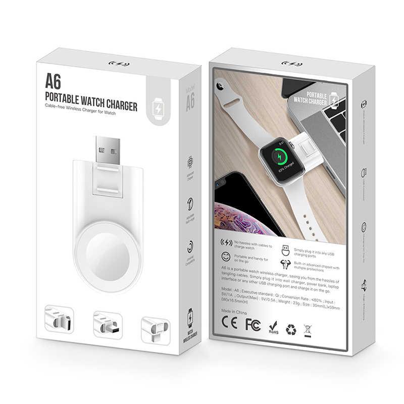 Cargador inalámbrico Qi para Apple Watch Series 4 3 2 1 magnético portátil de carga rápida inalámbrica cargador USB para iWatch 1 2 3 4