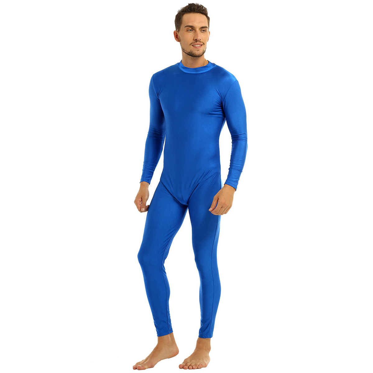 Mens Well Fit One Piece Leotards Long Sleeves Skinny Full-body Catsuit Adult Lycra Dancewear Bodysuit Gymnastics Workout Unitard 35