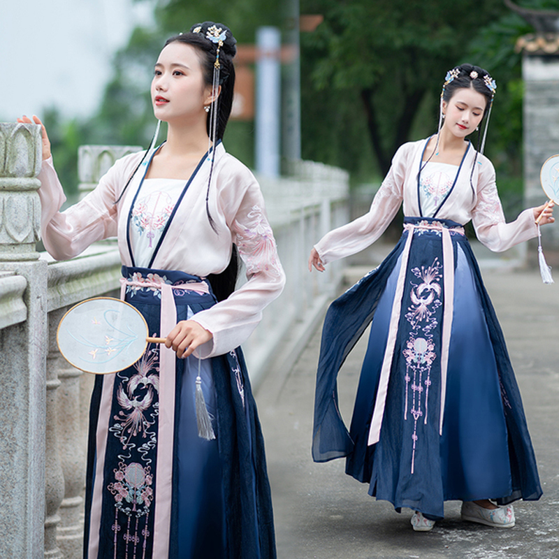 Hanfu Dress Chinese Style Traditional Embroidery Clothes Han/Tang Dynasty Ancient Classical Dance White Tops Blue Skirt VO405