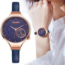 цена Women Fashion Blue Quartz Watch Lady Leather Watchband Watch Brand High Quality Casual Waterproof Wristwatch Gift for Wife 2019 онлайн в 2017 году