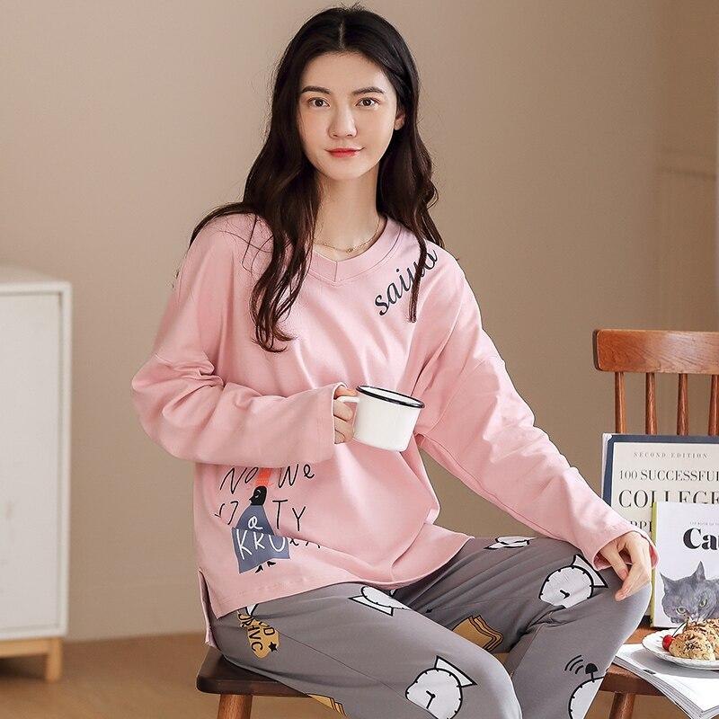 Autumn Winter Cotton Cartoon Pajamas Set Women Pyjamas Women's Pajamas
