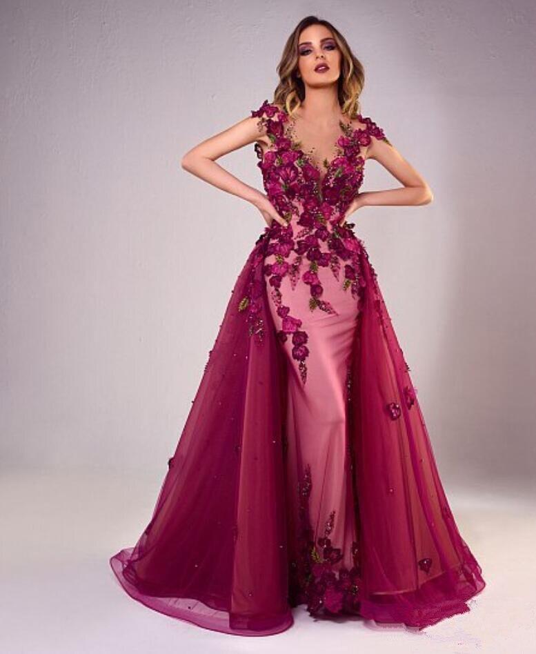 Elegant Evening Dresses Mermaid V-neck Cap Sleeves Tulle Flowers Pearls Dubai Saudi Arabia Long Prom Dress Gown Robe De Soiree