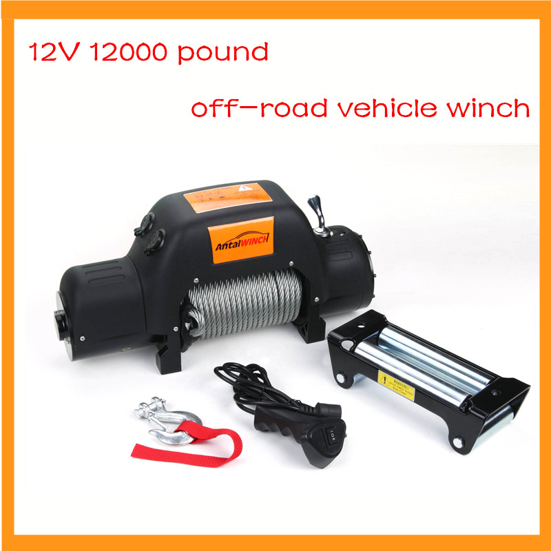 12 V 12000 Pound Off-road Vehicle Winch With Wireless Remote Control