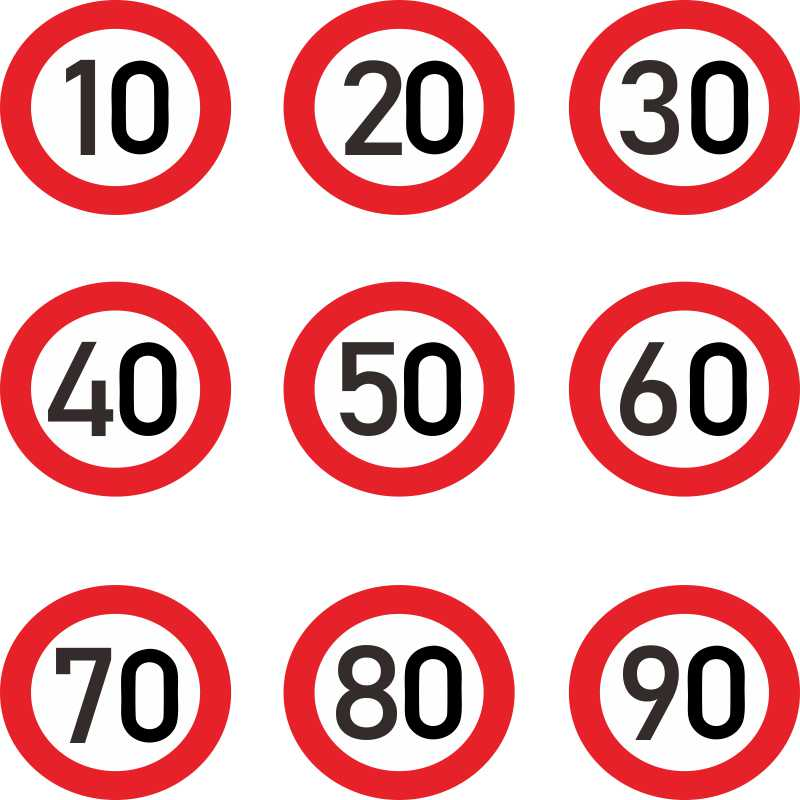 Vinyl Car Decorative Sticke Decalr,speed Limit 10 20 30 40 50 60 70 80 90 Km/h for Various Car Decoration High Quality Fashion