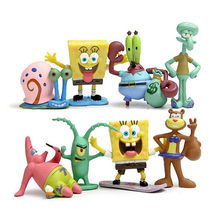 8 Pcs/LotKawaii Patrick Star SpongeBob Model Hand To Do Action Figure Toys Doll Sponge Bob Vinyl Doll Classic Toys For Kid(China)
