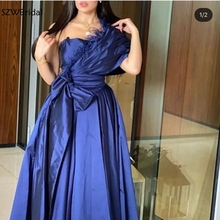 Evening-Dress Satin Royal-Blue Long One-Shoulder with Abiye Cheap Vestido-De-Fiesta New-Arrival