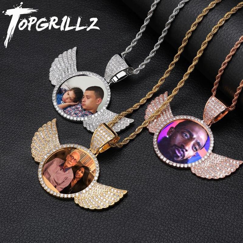 TOPGRILLZ złoto wykonane na zamówienie zdjęcie ze skrzydłami medaliony naszyjnik i wisiorek 4mm łańcuch tenisowy Cubic cyrkon męska Hip hop biżuteria