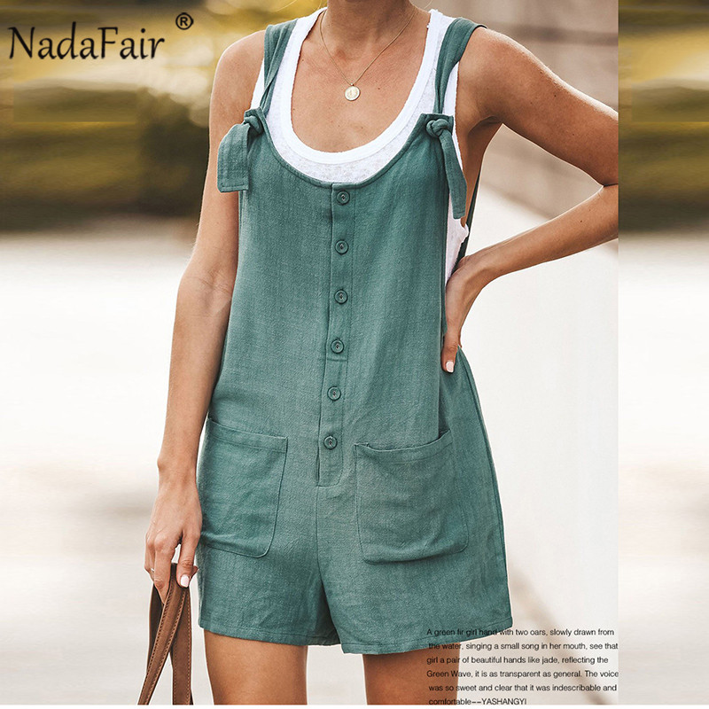 Nadafair Summer Casual Linen Playsuit Women 2020 Sleeveless Pockets Bow Lace Up Solid Short Jumpsuit Women Overalls