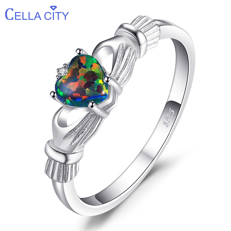 Cellacity Classic Silver 925 Ring For Women With Heart Shape Topaz Gemstones Size 6-10 Women Party Wholesale Gift