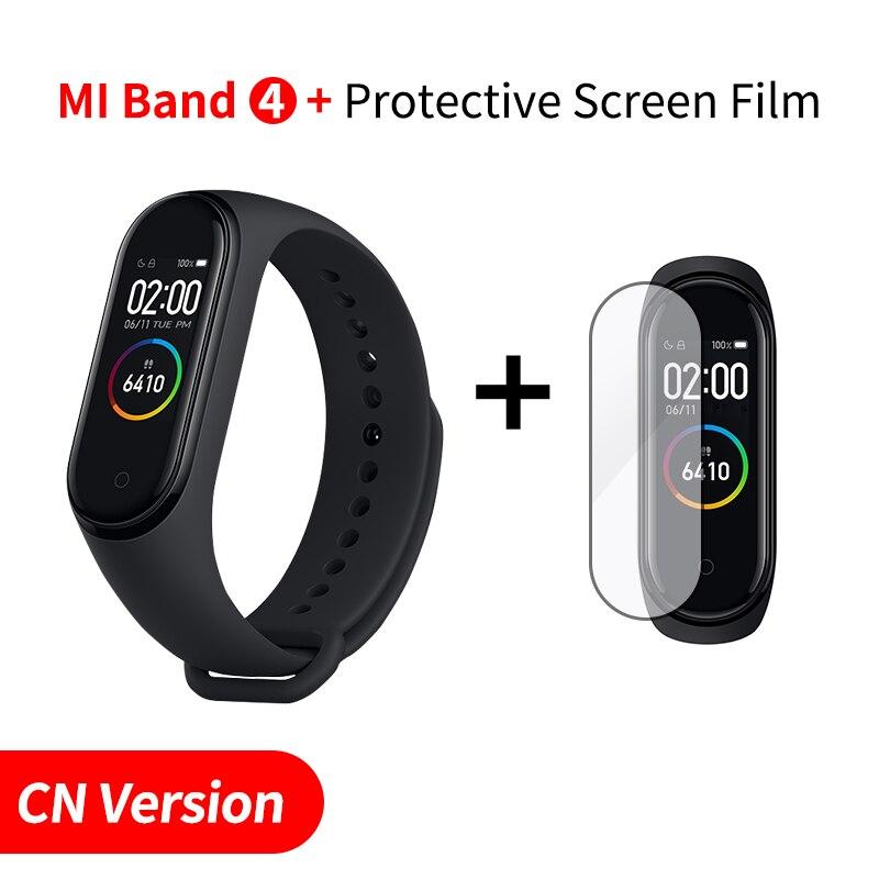 Xiaomi mi Band 4 Smart mi band 3 Цвета экран Браслет фитнес-трекер для измерения сердечного ритма Bluetooth 5,0 водонепроницаемый банда4 - Цвет: CN Add Screen Film