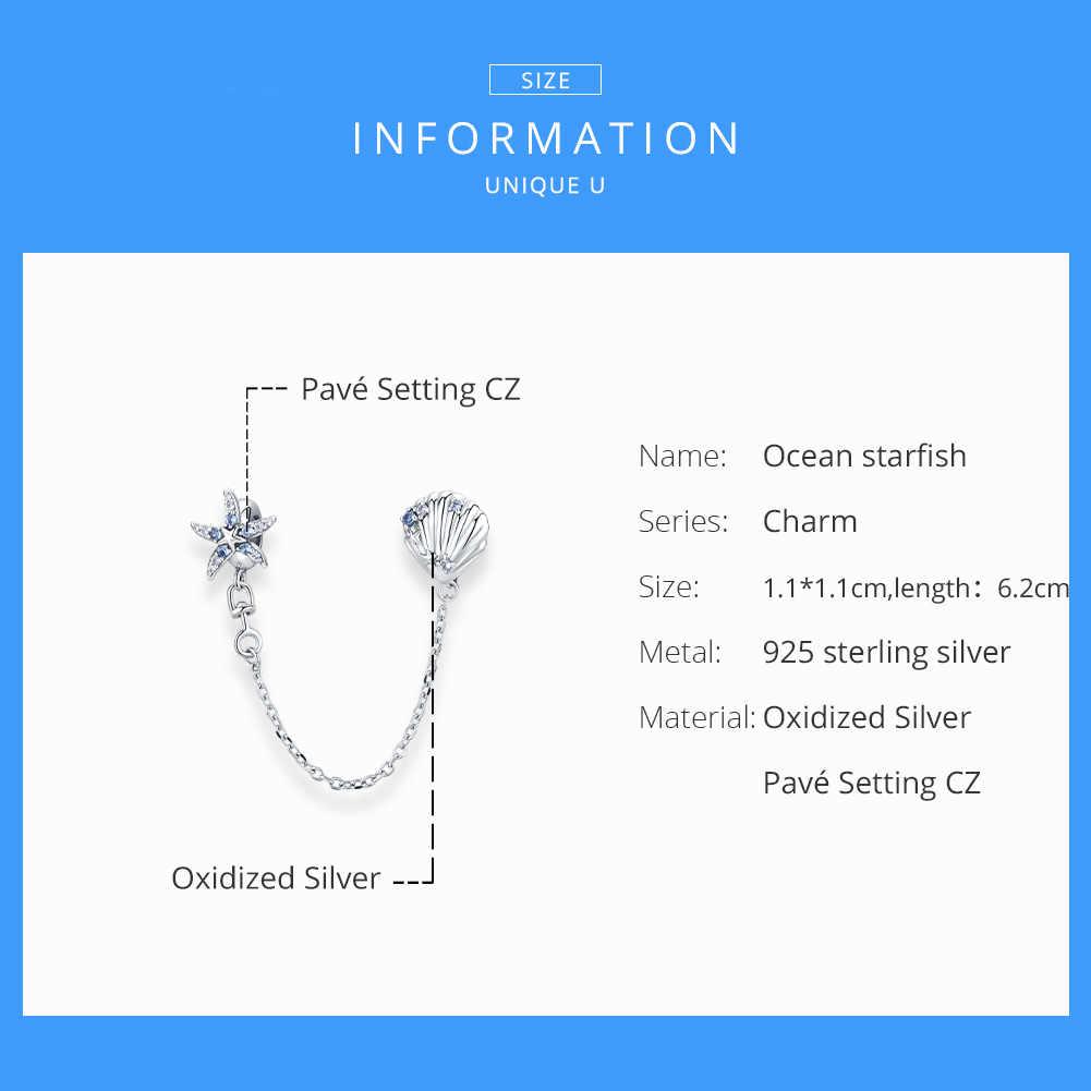 Bisaer oceano starfish & escudo rolha corrente de segurança 100% 925 prata esterlina encantos para pulseira original s925 jóias ecc1478