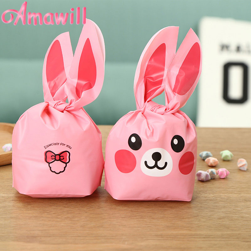 Amawill 100pcs Rabbit Ear For Sweets Bag Cute Bunny Packing Bag Treat Bag Wedding Party Supplies New Year Christmas Gift Bag 7D