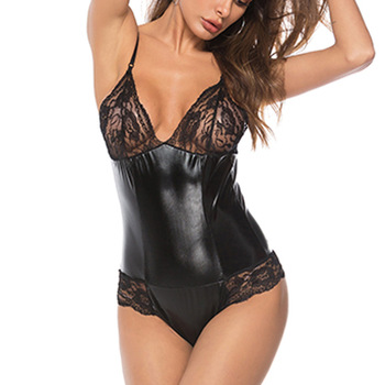 Plus Size Lace Leather Bodysuits