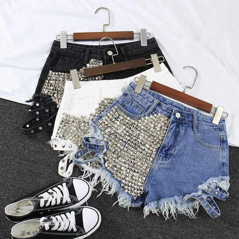 2019 frauen Mode Marke Vintage Quaste Rivet Ripped Hohe Taille Kurzen Jeans Punk Sexy Hot Frau Denim Shorts