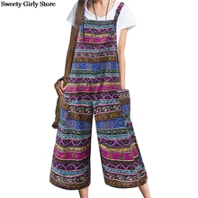 Jumpsuits Women Overalls Romper Dungarees Plus-Size Wide-Leg Casual Sleeveless Pockets