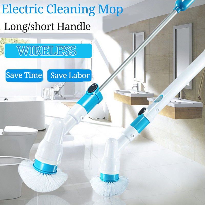 Electric Spin Scrubber Turbo Scrub Cleaning Brush Cordless Chargeable Bathroom Cleaner with Extension Handle Adaptive Brush Tub(China)