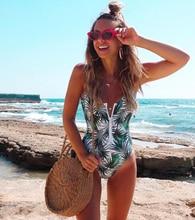 New Sexy Zipper One Piece Swimsuit Women Swimwear Push Up 2020 Monokini Bodysuit Print Bathing Suit Beachwear