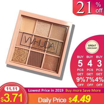 VVHUDA Eyeshadow Palette Makeup Cosmetics Diamond Glitter Metallic 9 Color Nude Creamy Pigmented Professional Mini Shadow Kit