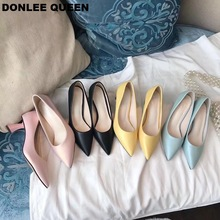 Fashion Hoof Heels Shoes Women Pumps Pointed Toe Work Shoe Slip On High Heel 5cm Spring Autumn Footwear Party Wedding Shoe Mujer spring autumn shoes woman pumps platform shoe womens casual tassel shoes 2018 new punk black footwear high heel shoe