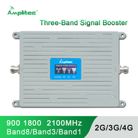 Newest GSM 2G 3G 4G Amplifier Cell Phone Booster Tri Band Mobile Signal LTE Cellular Repeater GSM DCS WCDMA 900 1800 2100MHz Kit