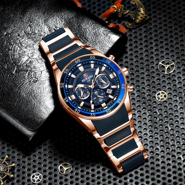 REWARD Brand Mens Watches Luxury Quartz Blue Watch Full Steel Men Chronograph Waterproof Business Wrist Watch Relogio Masculino
