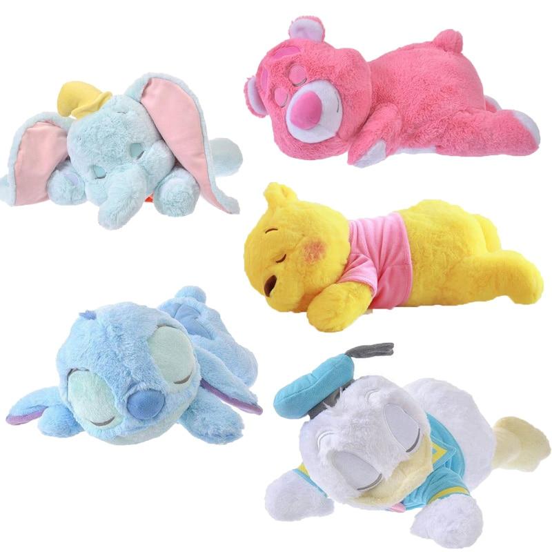 40-50cm Disney Dumbo Stitch Donald Duck Winnie Sleeping Plush Baby Soft Toy Dolls Stuffed Animals Pillow Gift For Kids
