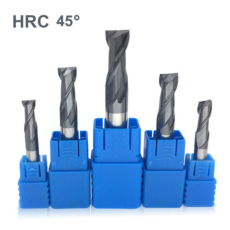 HRC 45 Degree 2 Flutes Tungsten Carbide Alloy TiAIN Coating End Mill  Milling Cutter For Alloy Steel Stainless Steel Iron Copper