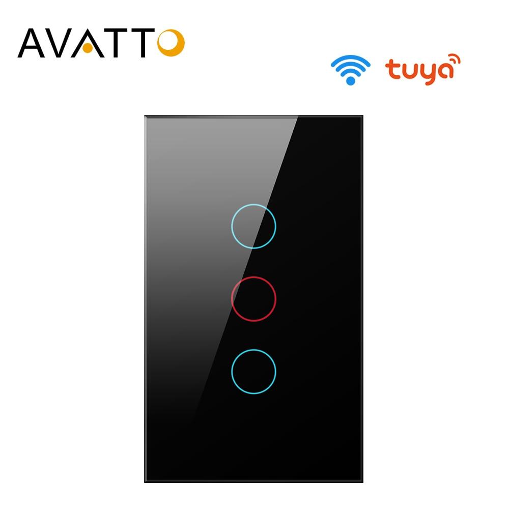 AVATTO Tuya US Wifi Wall Switch, Smart Light Switch, Glass Panel Touch-Sensor Interruptor 1/2/3 Gang Work With Alexa,Google Home