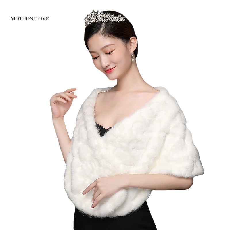 Ivory White Faux Fur Shawl Bridal Wedding Fur Wrap and Bolero Shrug Stole for Women and Girls Free Brooch In Stock Free Shipping
