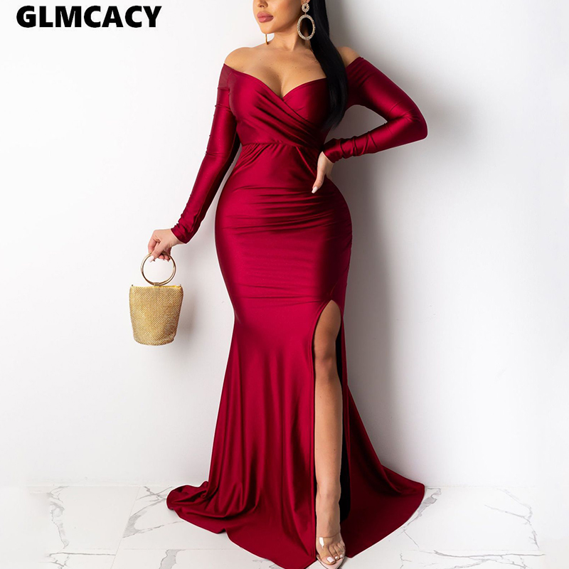 Women <font><b>Plus</b></font> <font><b>Size</b></font> Off Shoulder Long Sleeve Slit Bodycon <font><b>Dress</b></font> Maxi Solid Chic <font><b>Sexy</b></font> & Club Formal Evenig Party Vestido image